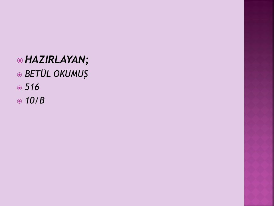  HAZIRLAYAN;  BETÜL OKUMUŞ  516  10/B