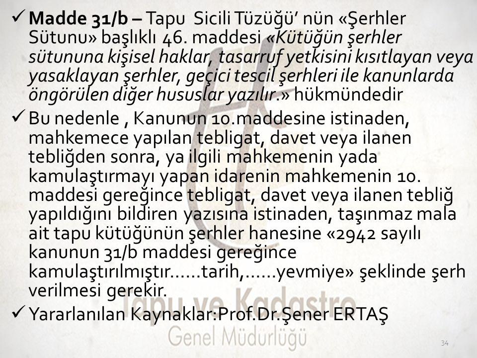  Madde 31/b – Tapu Sicili Tüzüğü' nün «Şerhler Sütunu» başlıklı 46. maddesi «Kütüğün şerhler sütununa kişisel haklar, tasarruf yetkisini kısıtlayan v