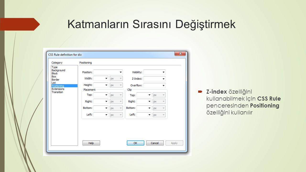  Z-index özelliğini kullanabilmek için CSS Rule penceresinden Positioning özelliğini kullanılır Katmanların Sırasını Değiştirmek