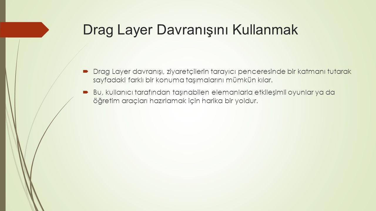  Drag Layer davranışı, ziyaretçilerin tarayıcı penceresinde bir katmanı tutarak sayfadaki farklı bir konuma taşımalarını mümkün kılar.