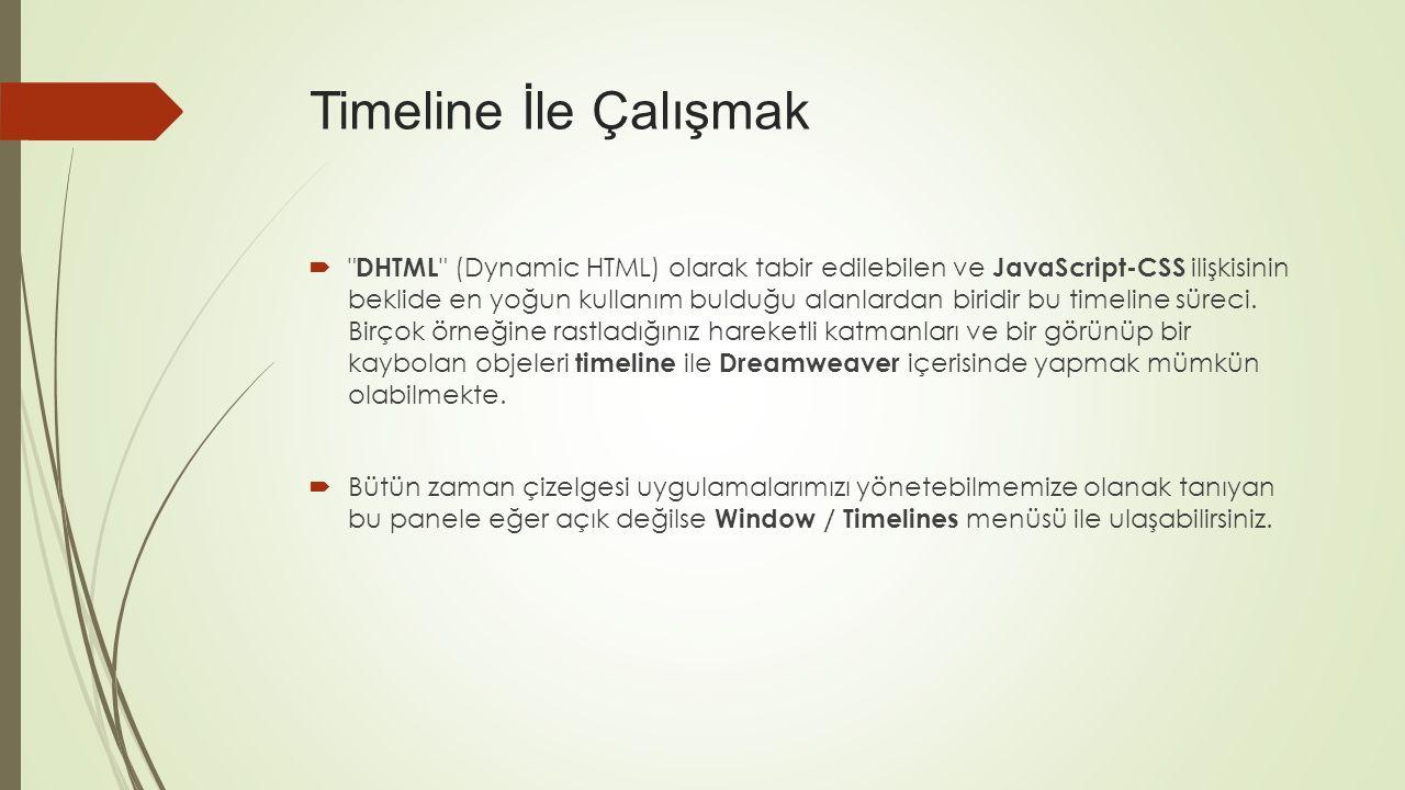  DHTML (Dynamic HTML) olarak tabir edilebilen ve JavaScript-CSS ilişkisinin beklide en yoğun kullanım bulduğu alanlardan biridir bu timeline süreci.