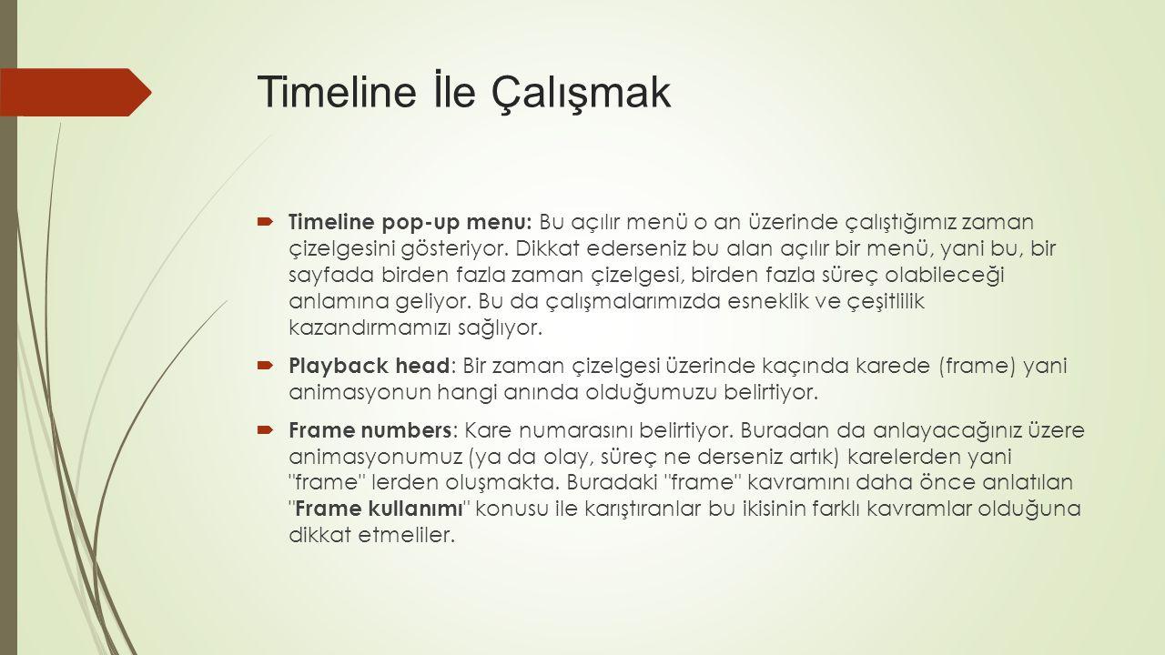  Timeline pop-up menu: Bu açılır menü o an üzerinde çalıştığımız zaman çizelgesini gösteriyor.