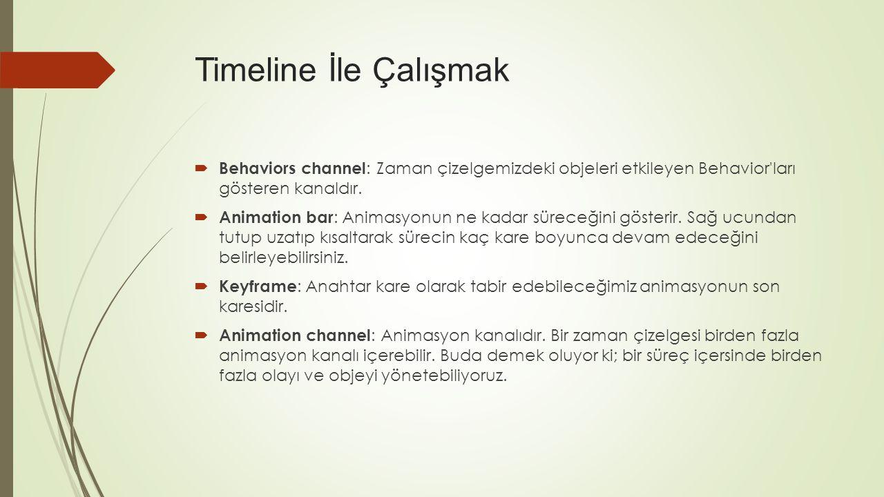  Behaviors channel : Zaman çizelgemizdeki objeleri etkileyen Behavior ları gösteren kanaldır.