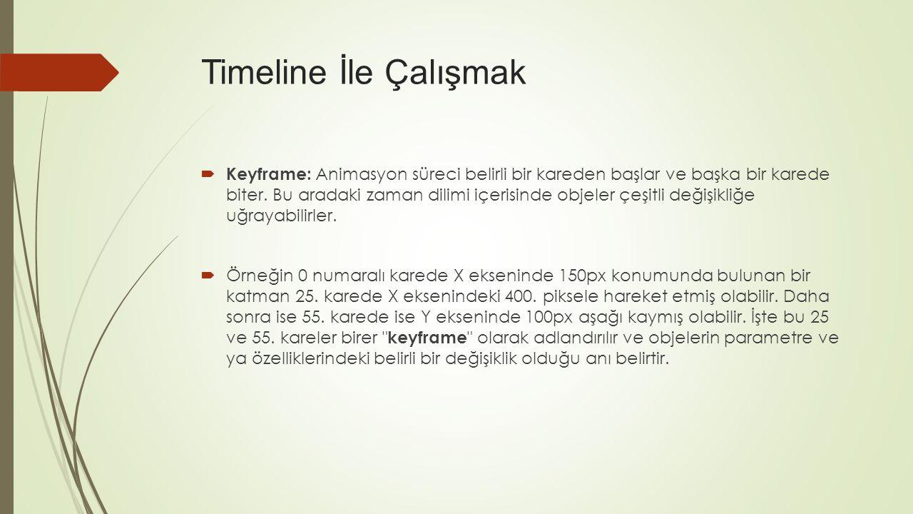  Keyframe: Animasyon süreci belirli bir kareden başlar ve başka bir karede biter.