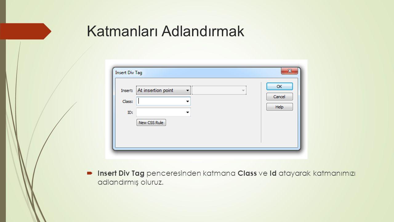 Katmanları Adlandırmak  Insert Div Tag penceresinden katmana Class ve Id atayarak katmanımızı adlandırmış oluruz.