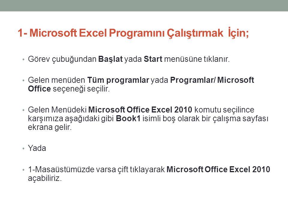1- Microsoft Excel Programını Çalıştırmak İçin; • Görev çubuğundan Başlat yada Start menüsüne tıklanır. • Gelen menüden Tüm programlar yada Programlar