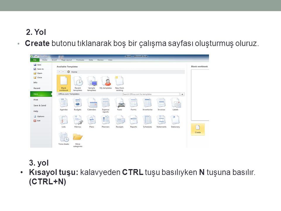 2. Yol • Create butonu tıklanarak boş bir çalışma sayfası oluşturmuş oluruz. 3. yol •Kısayol tuşu: kalavyeden CTRL tuşu basılıyken N tuşuna basılır. (