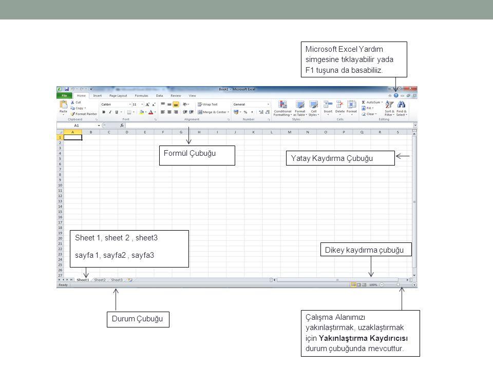 Yatay Kaydırma Çubuğu Formül Çubuğu Sheet 1, sheet 2, sheet3 sayfa 1, sayfa2, sayfa3 Durum Çubuğu Dikey kaydırma çubuğu Microsoft Excel Yardım simgesi
