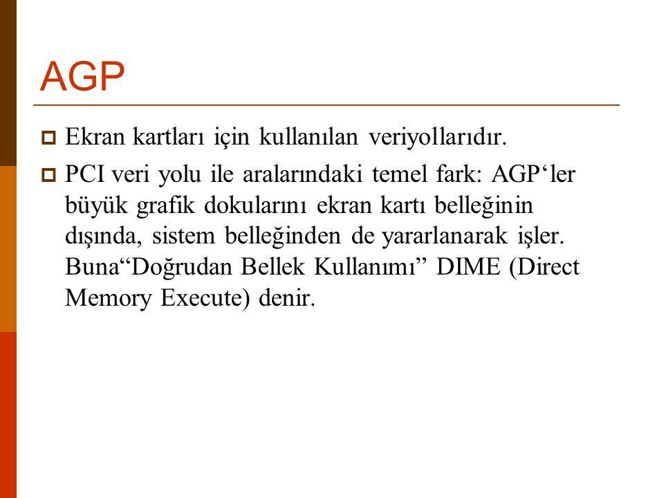 AGP  Ekran kartları için kullanılan veriyollarıdır.  PCI veri yolu ile aralarındaki temel fark: AGP'ler büyük grafik dokularını ekran kartı belleğin