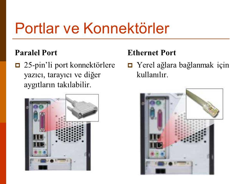 Portlar ve Konnektörler Paralel Port  25-pin'li port konnektörlere yazıcı, tarayıcı ve diğer aygıtların takılabilir. Ethernet Port  Yerel ağlara bağ