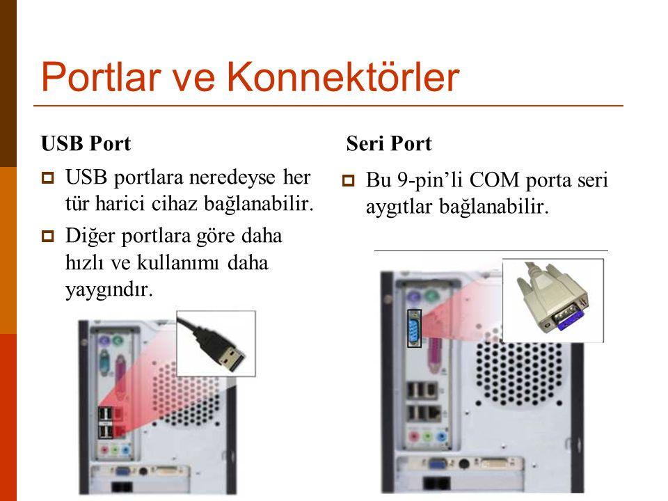 Portlar ve Konnektörler USB Port  USB portlara neredeyse her tür harici cihaz bağlanabilir.  Diğer portlara göre daha hızlı ve kullanımı daha yaygın