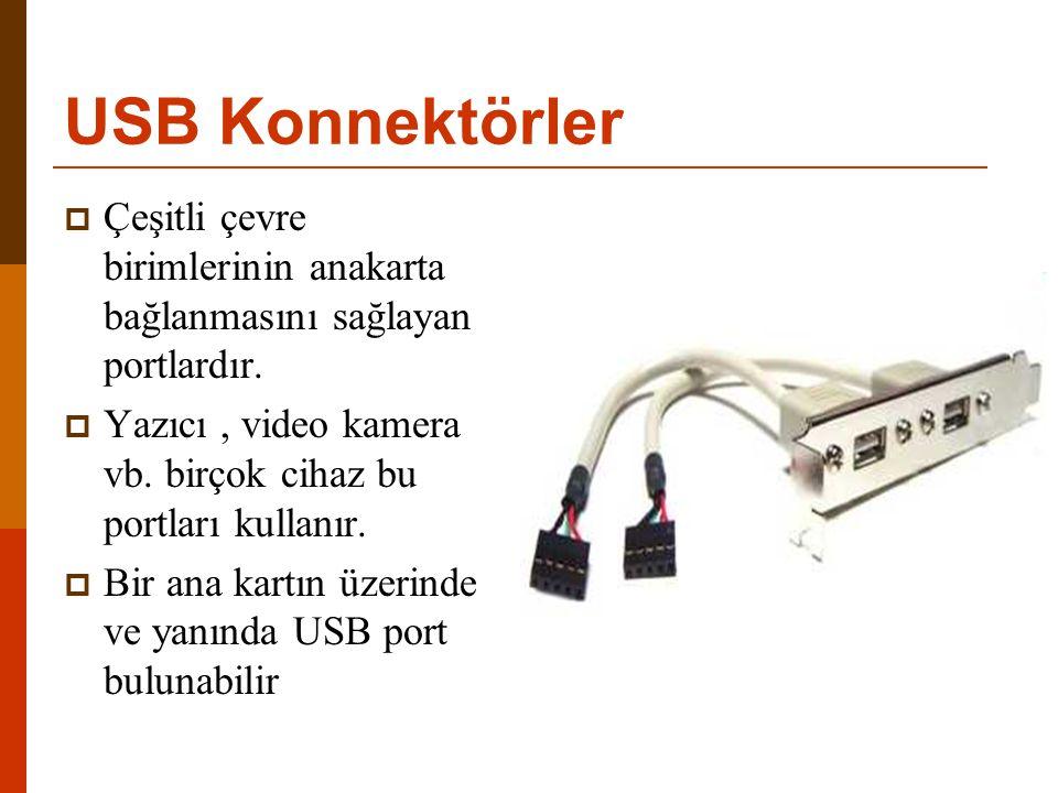 USB Konnektörler  Çeşitli çevre birimlerinin anakarta bağlanmasını sağlayan portlardır.  Yazıcı, video kamera vb. birçok cihaz bu portları kullanır.