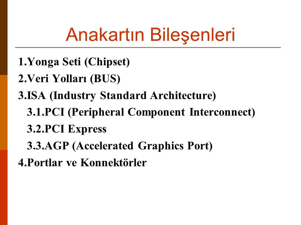 Anakartın Bileşenleri 1.Yonga Seti (Chipset) 2.Veri Yolları (BUS) 3.ISA (Industry Standard Architecture) 3.1.PCI (Peripheral Component Interconnect) 3