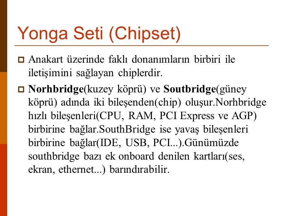 Yonga Seti (Chipset)  Anakart üzerinde faklı donanımların birbiri ile iletişimini sağlayan chiplerdir.  Norhbridge(kuzey köprü) ve Soutbridge(güney