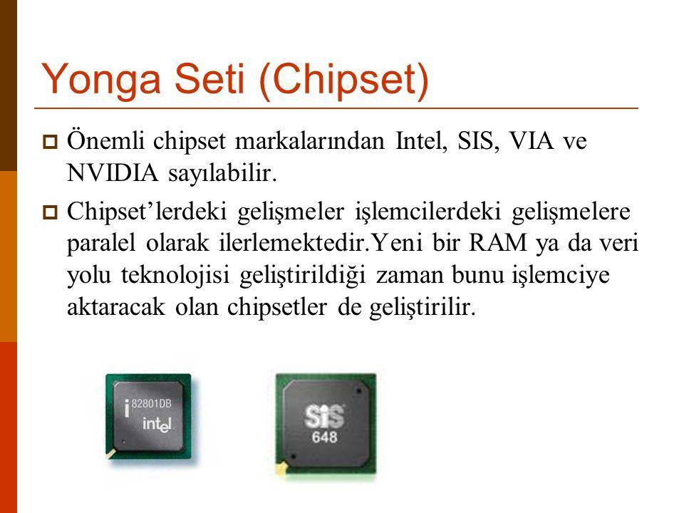 Yonga Seti (Chipset)  Önemli chipset markalarından Intel, SIS, VIA ve NVIDIA sayılabilir.  Chipset'lerdeki gelişmeler işlemcilerdeki gelişmelere par
