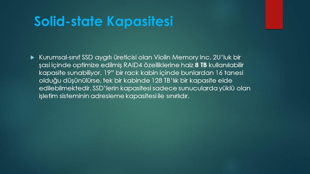 Solid-state Kapasitesi  Kurumsal-sınıf SSD aygıtı üreticisi olan Violin Memory Inc. 2U'luk bir şasi içinde optimize edilmiş RAID4 özelliklerine haiz