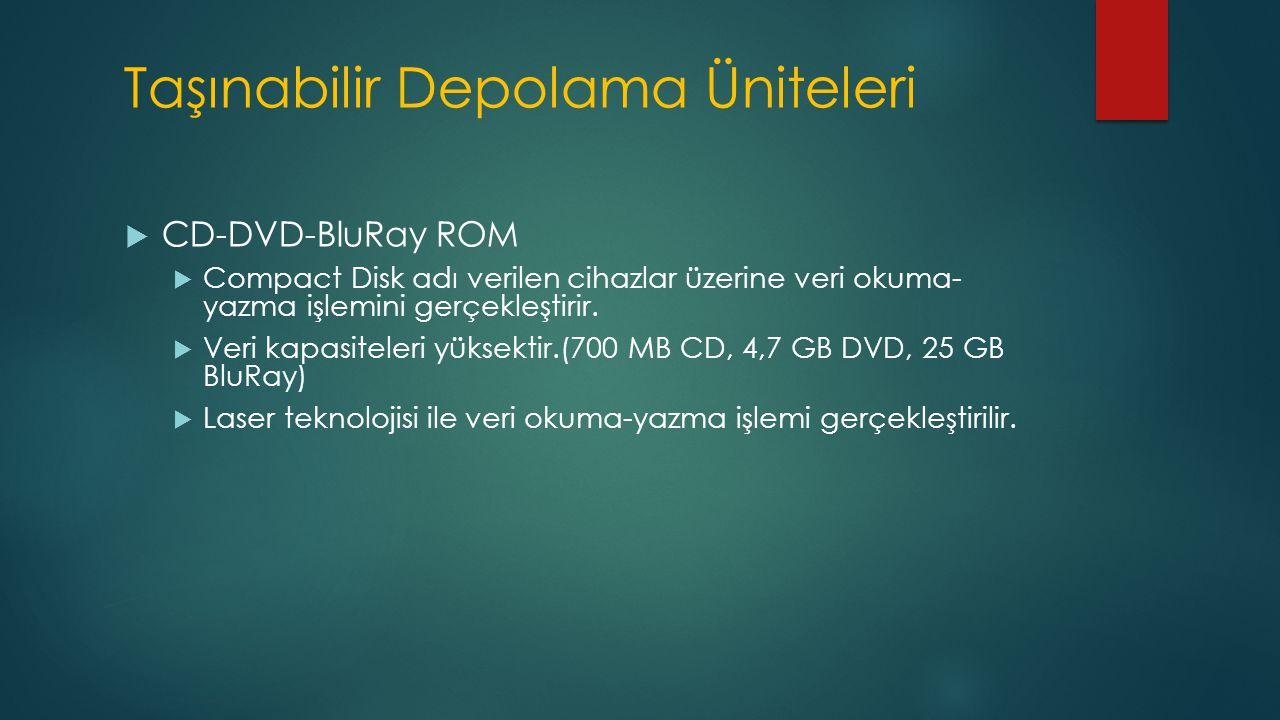 Taşınabilir Depolama Üniteleri  CD-DVD-BluRay ROM  Compact Disk adı verilen cihazlar üzerine veri okuma- yazma işlemini gerçekleştirir.  Veri kapas