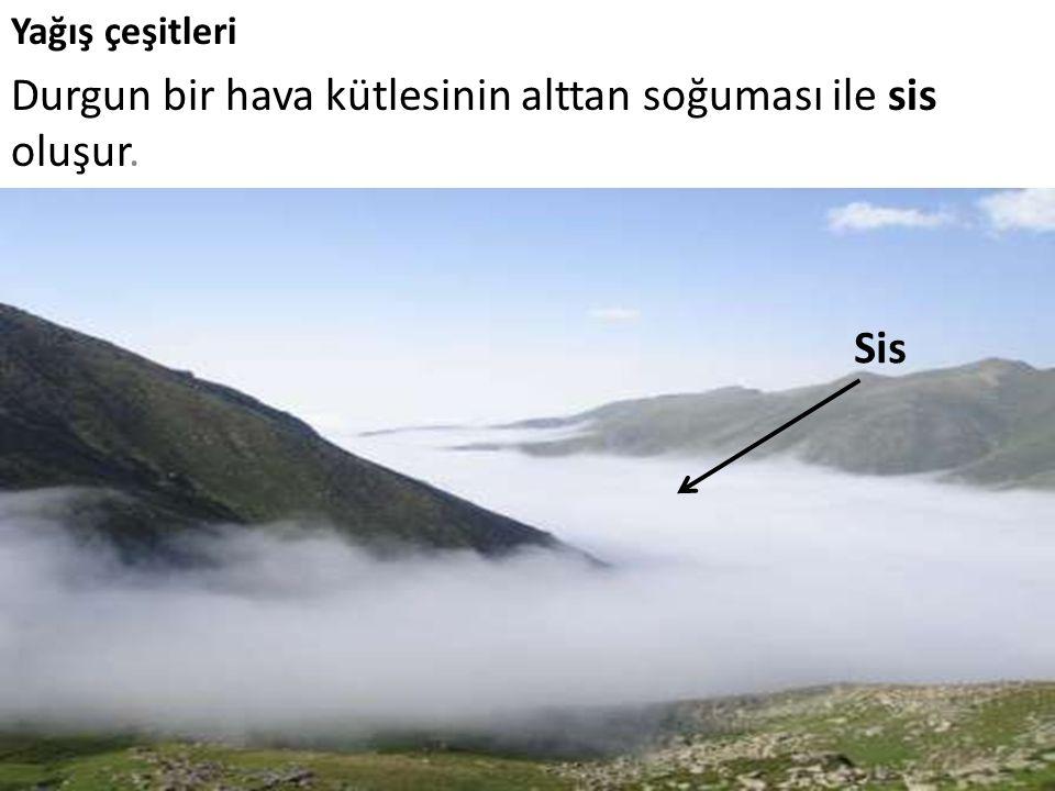 Yağış çeşitleri Durgun bir hava kütlesinin alttan soğuması ile sis oluşur. Sis