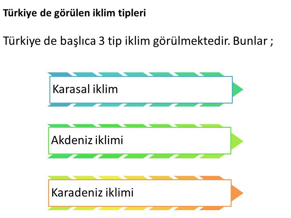 Türkiye de görülen iklim tipleri Türkiye de başlıca 3 tip iklim görülmektedir. Bunlar ; Karasal iklim Akdeniz iklimi Karadeniz iklimi