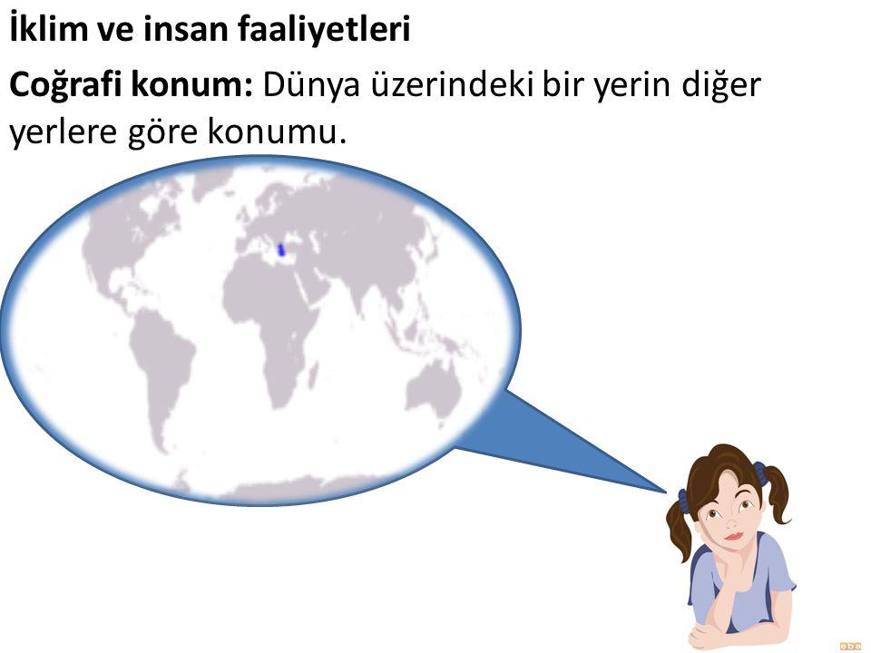 İklim ve insan faaliyetleri Coğrafi konum: Dünya üzerindeki bir yerin diğer yerlere göre konumu.