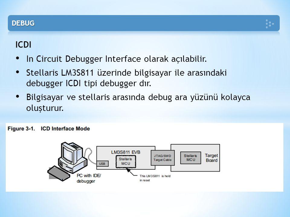 ICDI • In Circuit Debugger Interface olarak açılabilir. • Stellaris LM3S811 üzerinde bilgisayar ile arasındaki debugger ICDI tipi debugger dır. • Bilg