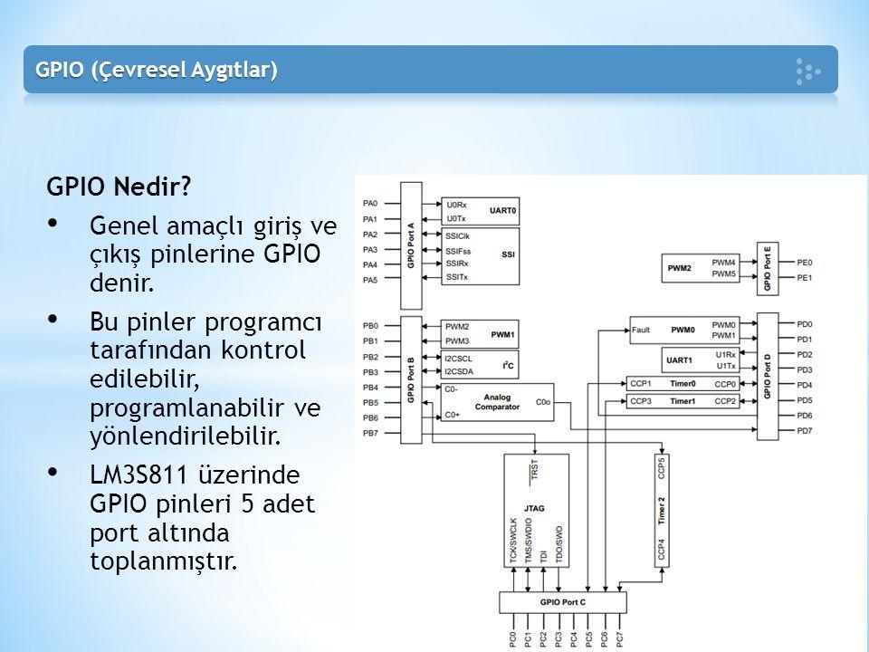 GPIO Nedir? • Genel amaçlı giriş ve çıkış pinlerine GPIO denir. • Bu pinler programcı tarafından kontrol edilebilir, programlanabilir ve yönlendirileb