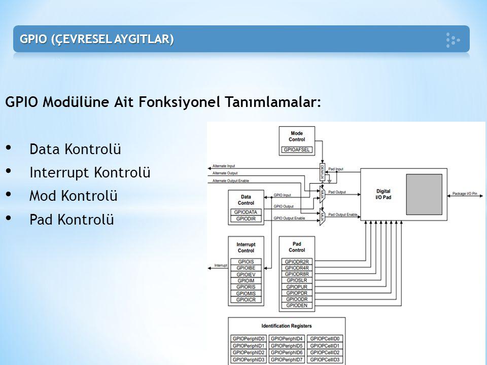 GPIO Modülüne Ait Fonksiyonel Tanımlamalar: • Data Kontrolü • Interrupt Kontrolü • Mod Kontrolü • Pad Kontrolü