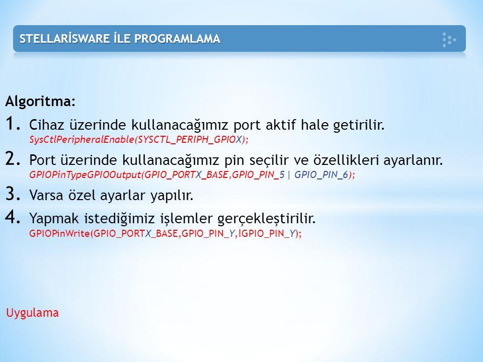 Algoritma: 1. Cihaz üzerinde kullanacağımız port aktif hale getirilir. SysCtlPeripheralEnable(SYSCTL_PERIPH_GPIOX); 2. Port üzerinde kullanacağımız pi