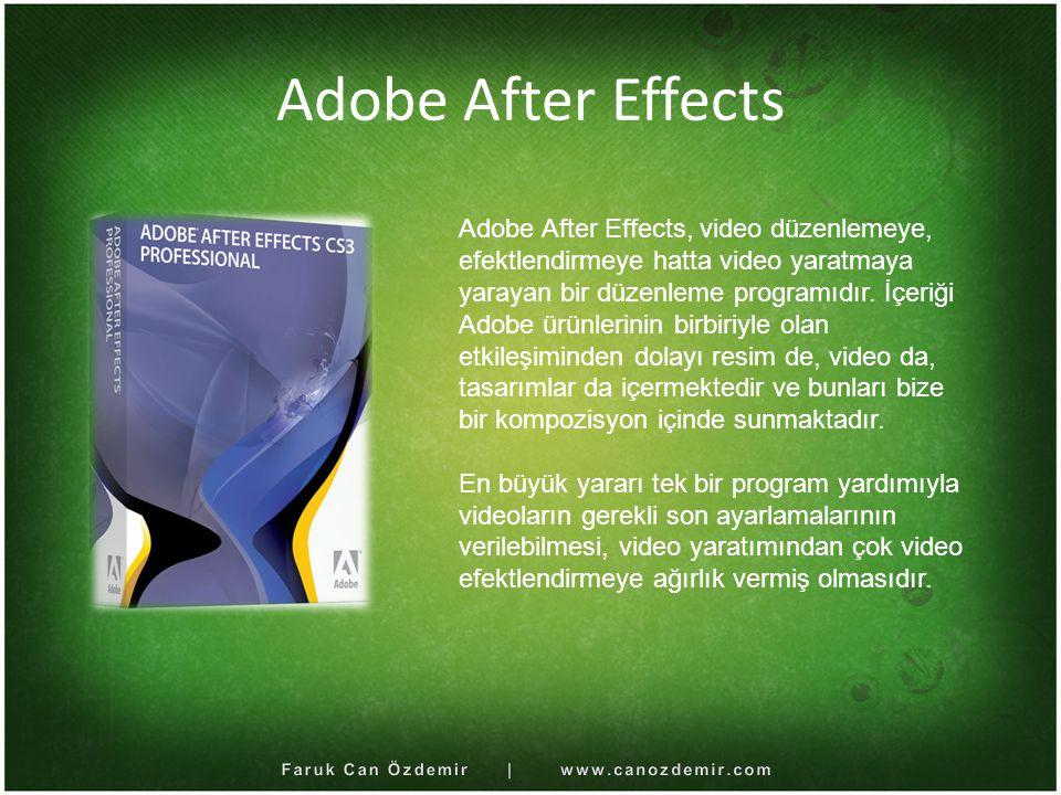 After Effects Kullanımı After Effects, her türlü metin animasyonu, film düzenlemesi, video efektleri yapımında aktif olarak kullanılmaktadır.