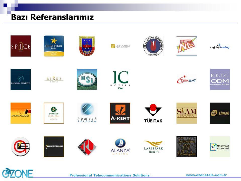 Bazı Referanslarımız Professional Telecommunications Solutions www.ozonetele.com.tr