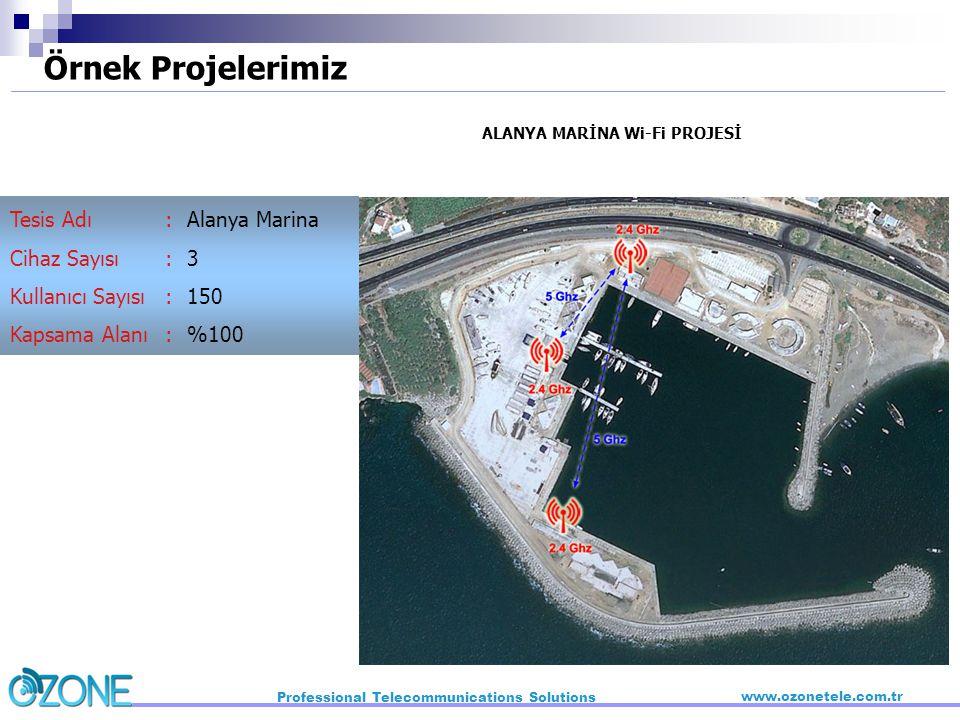 ALANYA MARİNA Wi-Fi PROJESİ Alanya Marina 3 150 %100 :::::::: Tesis Adı Cihaz Sayısı Kullanıcı Sayısı Kapsama Alanı Örnek Projelerimiz Professional Te