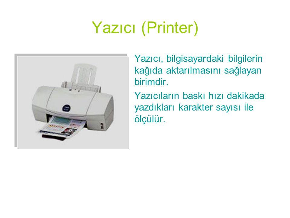 Yazıcı (Printer) •Yazıcı, bilgisayardaki bilgilerin kağıda aktarılmasını sağlayan birimdir. •Yazıcıların baskı hızı dakikada yazdıkları karakter sayıs