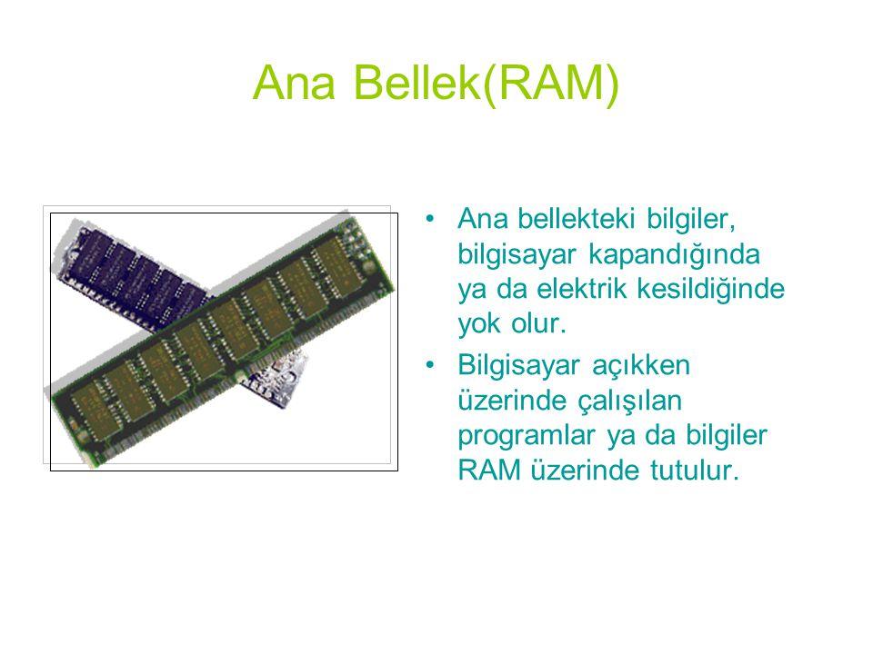 Ana Bellek(RAM) •Ana bellekteki bilgiler, bilgisayar kapandığında ya da elektrik kesildiğinde yok olur. •Bilgisayar açıkken üzerinde çalışılan program
