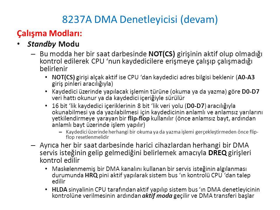 8237A DMA Denetleyicisi (devam) Çalışma Modları: • Standby Modu – Bu modda her bir saat darbesinde NOT(CS) girişinin aktif olup olmadığı kontrol edilerek CPU 'nun kaydedicilere erişmeye çalışıp çalışmadığı belirlenir • NOT(CS) girişi alçak aktif ise CPU 'dan kaydedici adres bilgisi beklenir (A0-A3 giriş pinleri aracılığıyla) • Kaydedici üzerinde yapılacak işlemin türüne (okuma ya da yazma) göre D0-D7 veri hattı okunur ya da kaydedici içeriğiyle sürülür • 16 bit 'lik kaydedici içeriklerinin 8 bit 'lik veri yolu (D0-D7) aracılığıyla okunabilmesi ya da yazılabilmesi için kaydedicinin anlamlı ve anlamsız yarılarını yetkilendirmeye yarayan bir flip-flop kullanılır (önce anlamsız bayt, ardından anlamlı bayt üzerinde işlem yapılır) – Kaydedici üzerinde herhangi bir okuma ya da yazma işlemi gerçekleştirmeden önce flip- flop resetlenmelidir – Ayrıca her bir saat darbesinde harici cihazlardan herhangi bir DMA servis isteğinin gelip gelmediğini belirlemek amacıyla DREQ girişleri kontrol edilir • Maskelenmemiş bir DMA kanalını kullanan bir servis isteğinin algılanması durumunda HRQ pini aktif yapılarak sistem bus 'ın kontrolü CPU 'dan talep edilir • HLDA sinyalinin CPU tarafından aktif yapılıp sistem bus 'ın DMA denetleyicinin kontrolüne verilmesinin ardından aktif moda geçilir ve DMA transferi başlar