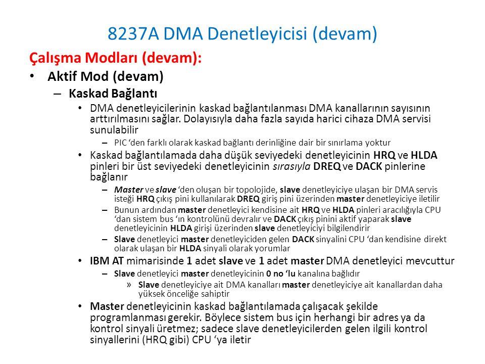 8237A DMA Denetleyicisi (devam) Çalışma Modları (devam): • Aktif Mod (devam) – Kaskad Bağlantı • DMA denetleyicilerinin kaskad bağlantılanması DMA kanallarının sayısının arttırılmasını sağlar.