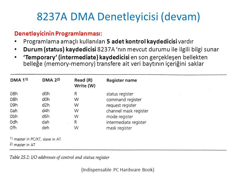8237A DMA Denetleyicisi (devam) Denetleyicinin Programlanması: • Programlama amaçlı kullanılan 5 adet kontrol kaydedicisi vardır • Durum (status) kaydedicisi 8237A 'nın mevcut durumu ile ilgili bilgi sunar • 'Temporary' (intermediate) kaydedicisi en son gerçekleşen bellekten belleğe (memory-memory) transfere ait veri baytının içeriğini saklar (Indispensable PC Hardware Book)