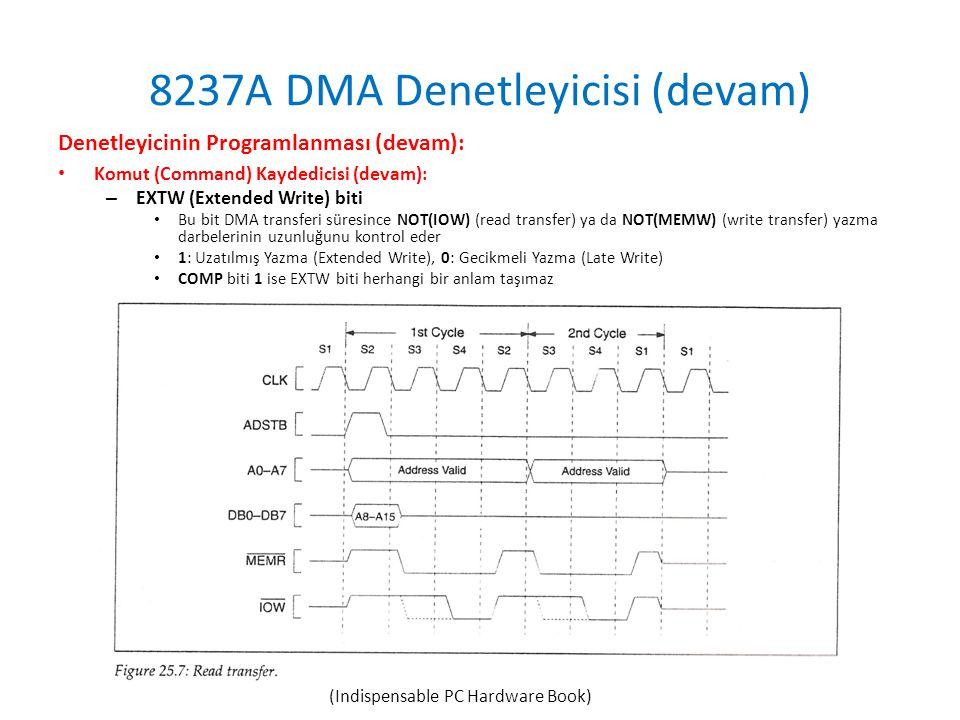 8237A DMA Denetleyicisi (devam) Denetleyicinin Programlanması (devam): • Komut (Command) Kaydedicisi (devam): – EXTW (Extended Write) biti • Bu bit DMA transferi süresince NOT(IOW) (read transfer) ya da NOT(MEMW) (write transfer) yazma darbelerinin uzunluğunu kontrol eder • 1: Uzatılmış Yazma (Extended Write), 0: Gecikmeli Yazma (Late Write) • COMP biti 1 ise EXTW biti herhangi bir anlam taşımaz (Indispensable PC Hardware Book)