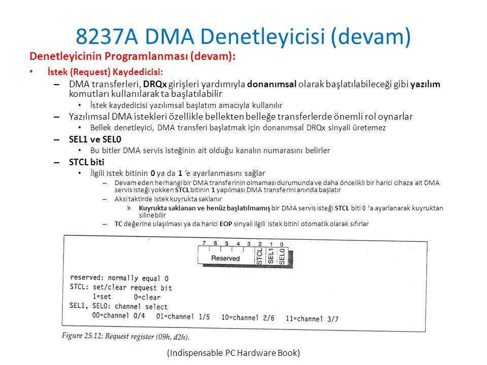 8237A DMA Denetleyicisi (devam) Denetleyicinin Programlanması (devam): • İstek (Request) Kaydedicisi: – DMA transferleri, DRQx girişleri yardımıyla donanımsal olarak başlatılabileceği gibi yazılım komutları kullanılarak ta başlatılabilir • İstek kaydedicisi yazılımsal başlatım amacıyla kullanılır – Yazılımsal DMA istekleri özellikle bellekten belleğe transferlerde önemli rol oynarlar • Bellek denetleyici, DMA transferi başlatmak için donanımsal DRQx sinyali üretemez – SEL1 ve SEL0 • Bu bitler DMA servis isteğinin ait olduğu kanalın numarasını belirler – STCL biti • İlgili istek bitinin 0 ya da 1 'e ayarlanmasını sağlar – Devam eden herhangi bir DMA transferinin olmaması durumunda ve daha öncelikli bir harici cihaza ait DMA servis isteği yokken STCL bitinin 1 yapılması DMA transferini anında başlatır – Aksi taktirde istek kuyrukta saklanır » Kuyrukta saklanan ve henüz başlatılmamış bir DMA servis isteği STCL biti 0 'a ayarlanarak kuyruktan silinebilir – TC değerine ulaşılması ya da harici EOP sinyali ilgili istek bitini otomatik olarak sıfırlar (Indispensable PC Hardware Book)