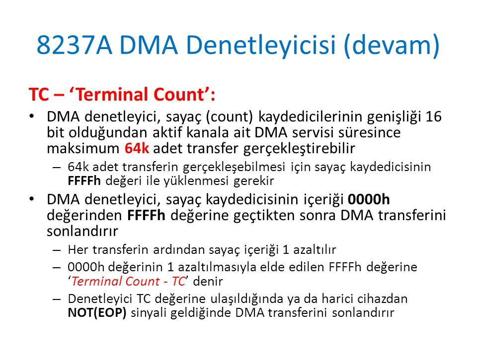 8237A DMA Denetleyicisi (devam) TC – 'Terminal Count': • DMA denetleyici, sayaç (count) kaydedicilerinin genişliği 16 bit olduğundan aktif kanala ait DMA servisi süresince maksimum 64k adet transfer gerçekleştirebilir – 64k adet transferin gerçekleşebilmesi için sayaç kaydedicisinin FFFFh değeri ile yüklenmesi gerekir • DMA denetleyici, sayaç kaydedicisinin içeriği 0000h değerinden FFFFh değerine geçtikten sonra DMA transferini sonlandırır – Her transferin ardından sayaç içeriği 1 azaltılır – 0000h değerinin 1 azaltılmasıyla elde edilen FFFFh değerine 'Terminal Count - TC' denir – Denetleyici TC değerine ulaşıldığında ya da harici cihazdan NOT(EOP) sinyali geldiğinde DMA transferini sonlandırır