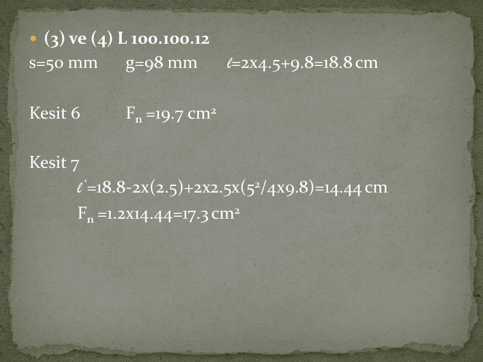  (3) ve (4) L 100.100.12 s=50 mmg=98 mm l =2x4.5+9.8=18.8 cm Kesit 6F n =19.7 cm 2 Kesit 7 l ' =18.8-2x(2.5)+2x2.5x(5 2 /4x9.8)=14.44 cm F n =1.2x14.