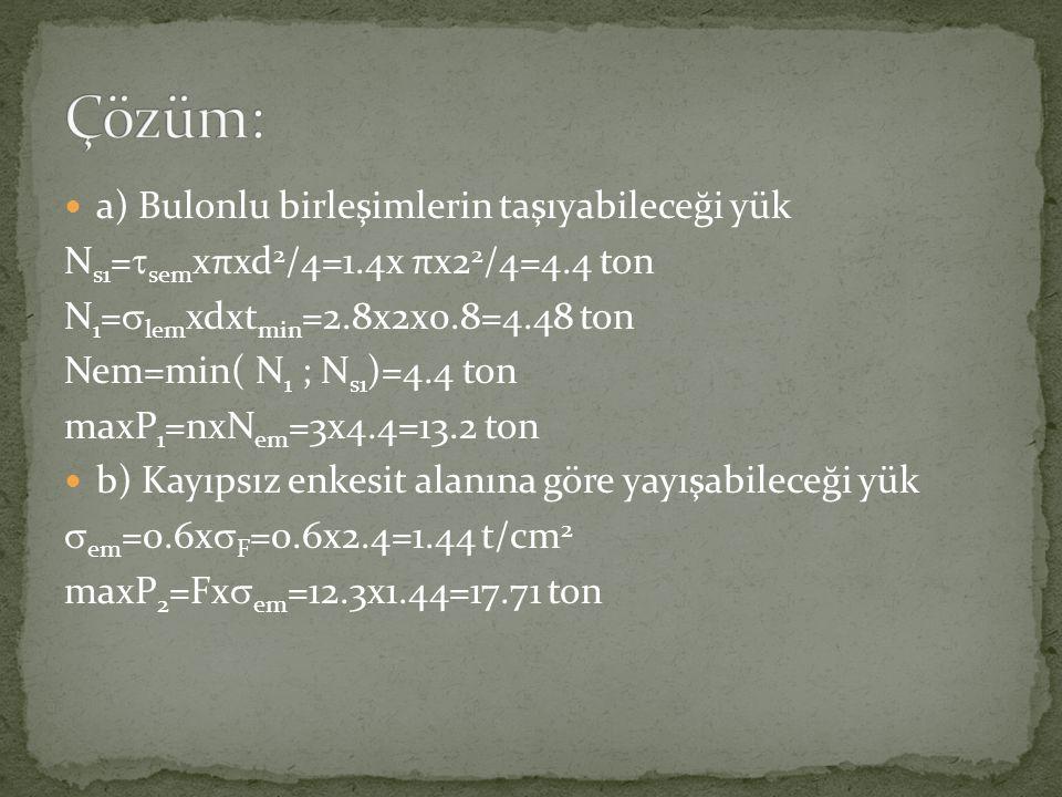  a) Bulonlu birleşimlerin taşıyabileceği yük N s1 =  sem xπxd 2 /4=1.4x πx2 2 /4=4.4 ton N 1 =  lem xdxt min =2.8x2x0.8=4.48 ton Nem=min( N 1 ; N s