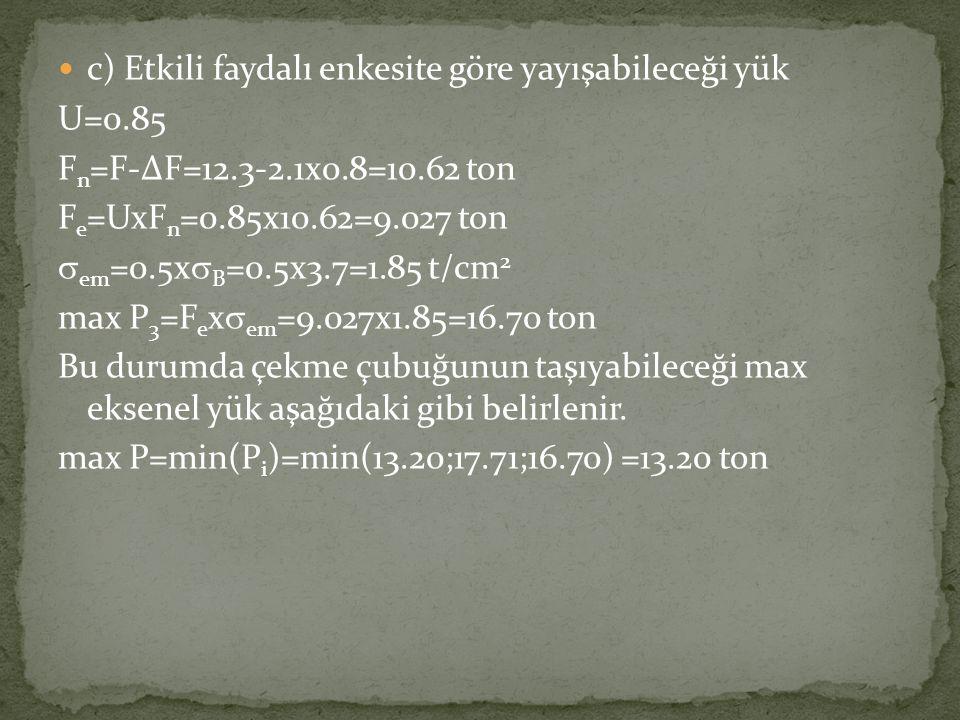  c) Etkili faydalı enkesite göre yayışabileceği yük U=0.85 F n =F-∆F=12.3-2.1x0.8=10.62 ton F e =UxF n =0.85x10.62=9.027 ton  em =0.5x  B =0.5x3.7=
