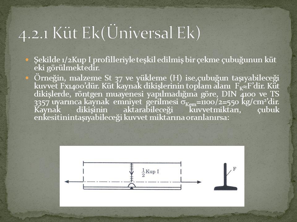 Şekilde 1/2Kup I profilleriyle teşkil edilmiş bir çekme çubuğunun küt eki görülmektedir.  Örneğin, malzeme St 37 ve yükleme (H) ise,çubuğun taşıyab