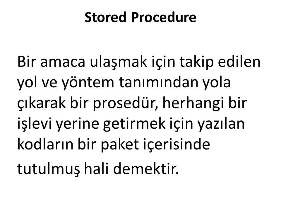Stored Procedure Bir amaca ulaşmak için takip edilen yol ve yöntem tanımından yola çıkarak bir prosedür, herhangi bir işlevi yerine getirmek için yazılan kodların bir paket içerisinde tutulmuş hali demektir.