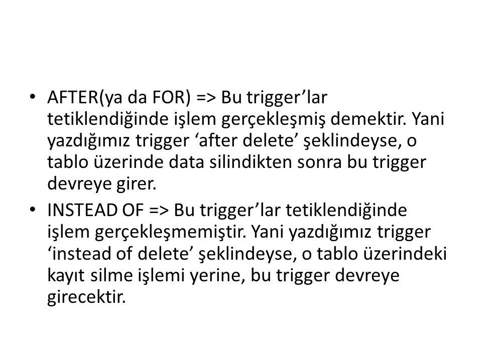 • AFTER(ya da FOR) => Bu trigger'lar tetiklendiğinde işlem gerçekleşmiş demektir. Yani yazdığımız trigger 'after delete' şeklindeyse, o tablo üzerinde