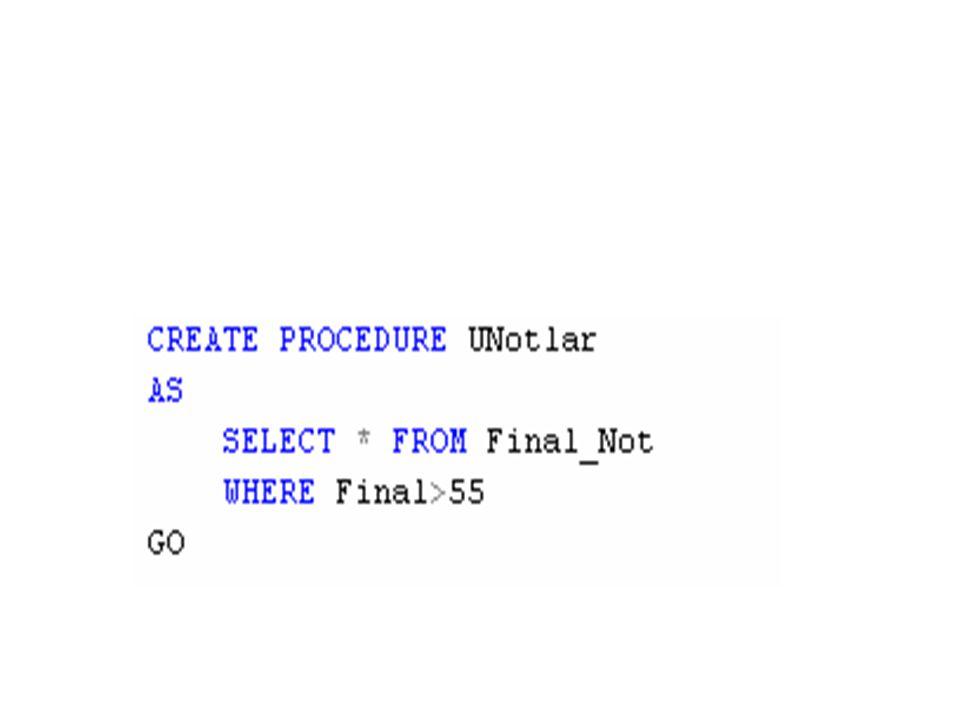 Çoklu silme DROP PROCEDURE usptype1, usptype2, usptype3 GO -- veya DROP PROC usptype1, usptype2, usptype3 GO