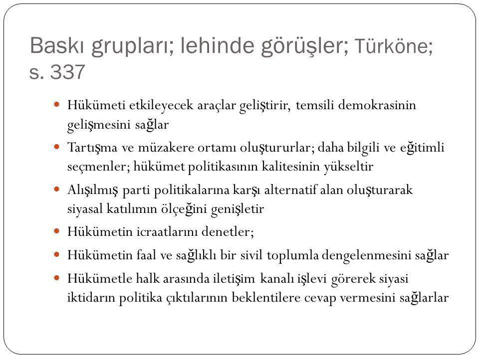 Baskı grupları; lehinde görüşler; Türköne; s.