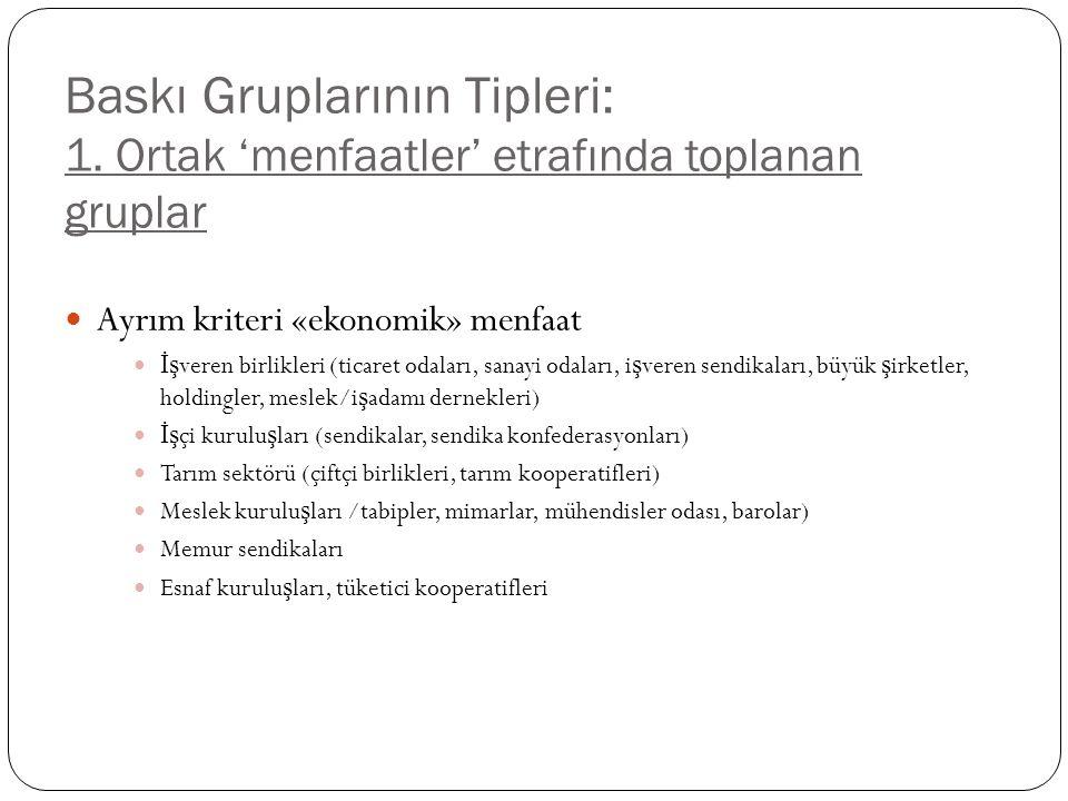 Baskı Gruplarının Tipleri: 1.