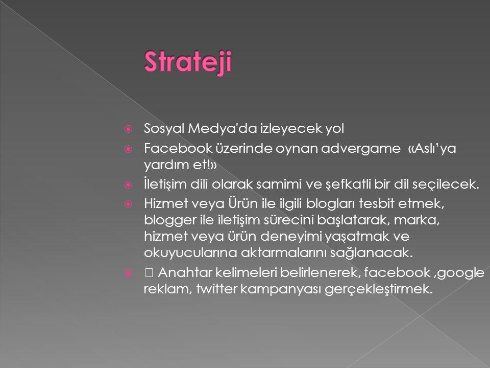  Sosyal Medya da izleyecek yol  Facebook üzerinde oynan advergame «Aslı'ya yardım et!»  İletişim dili olarak samimi ve şefkatli bir dil seçilecek.