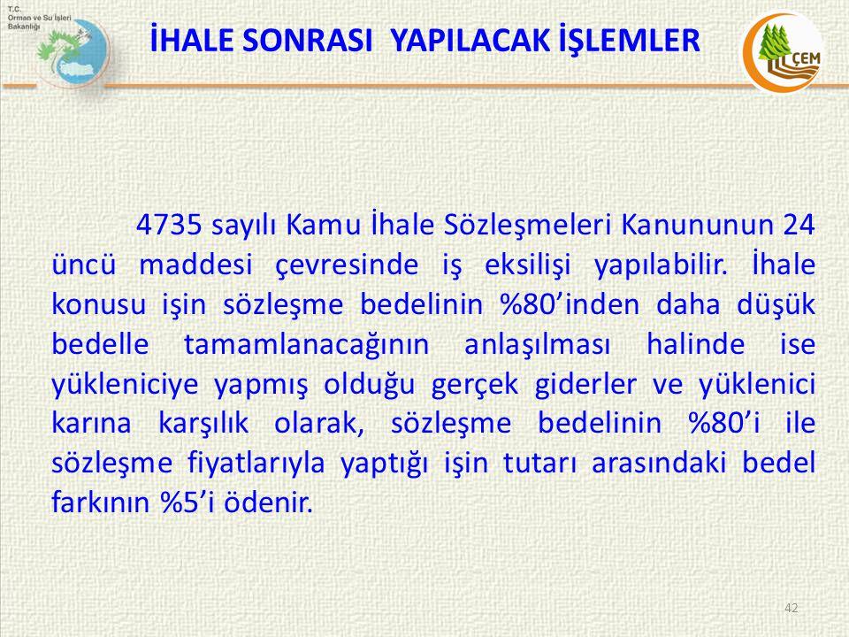 İHALE SONRASI YAPILACAK İŞLEMLER 4735 sayılı Kamu İhale Sözleşmeleri Kanununun 24 üncü maddesi çevresinde iş eksilişi yapılabilir. İhale konusu işin s